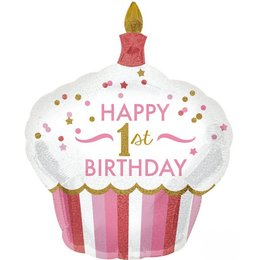 Folienluftballon Happy 1st Birthday Cupcake